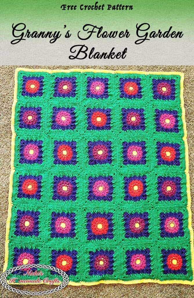 crochet blanket with flowers as free pattern