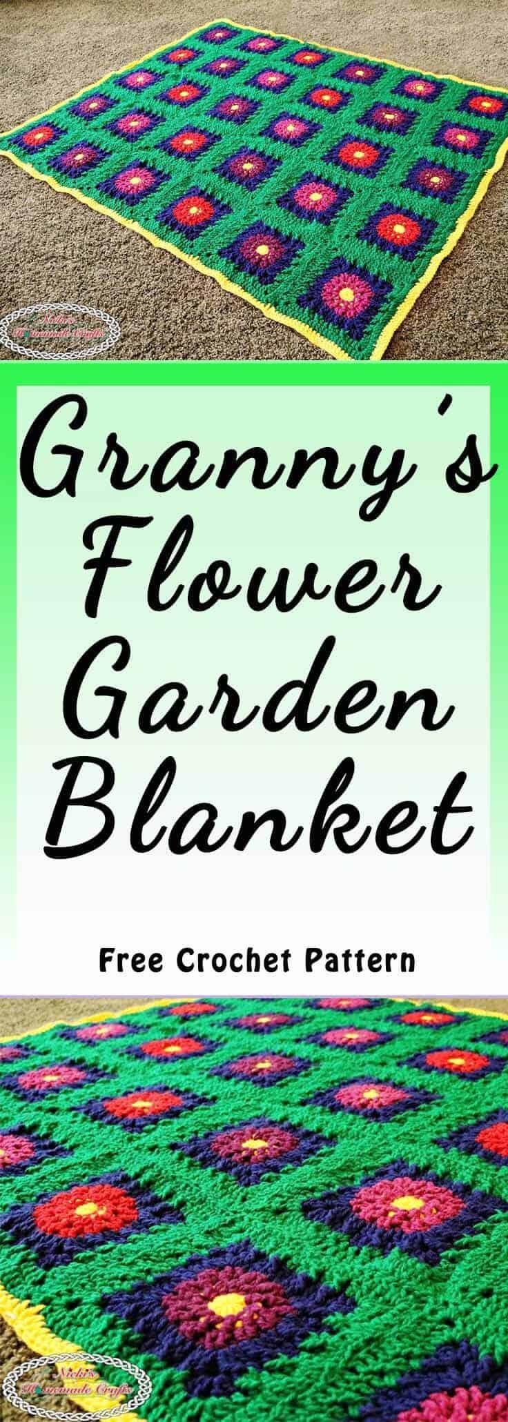 Crochet flower blanket with detailed free pattern