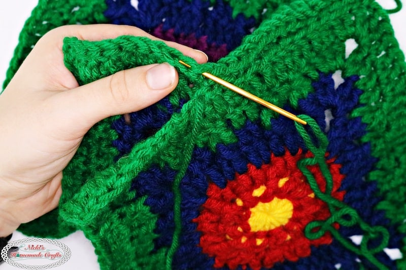 sewing crochet flower squares together