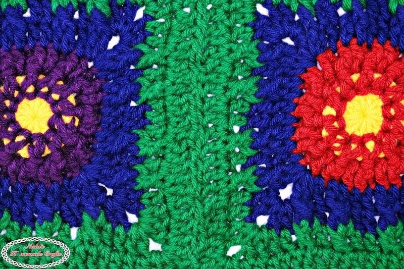sewn crochet flower squares for blanket