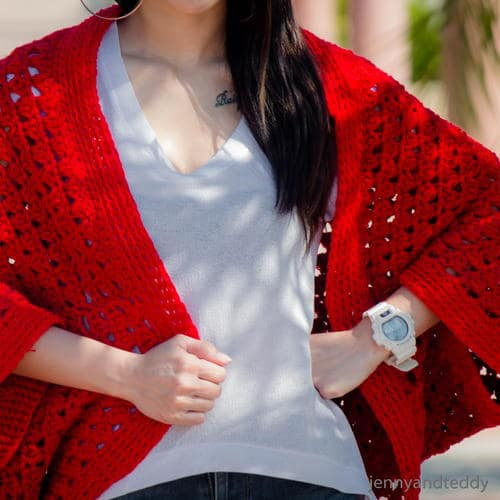 Red Cardigan which is part of a collection including 10 Free Crochet Cardigan Patterns all from AllFreeCrochet compiled by Nicki's Homemade Crafts - Crochet Cardigan, Crochet Jacket, Crochet Sweater, Crochet Wrap, Crochet Shawl