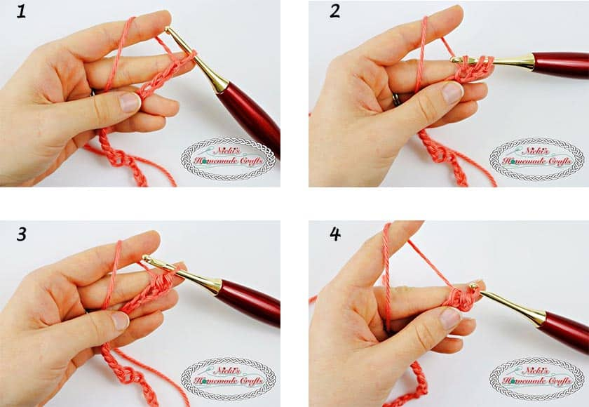 This shows how to crochet the Linked Half Double Crochet Part 1