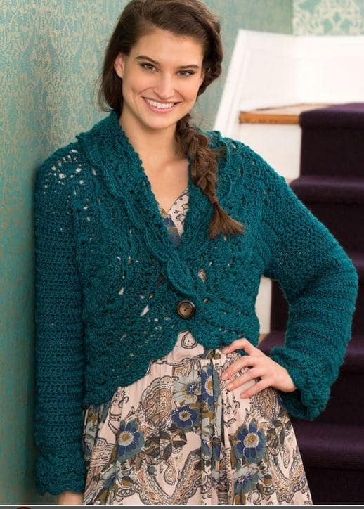 Green Cardigan which is part of a collection including 10 Free Crochet Cardigan Patterns all from AllFreeCrochet compiled by Nicki's Homemade Crafts - Crochet Cardigan, Crochet Jacket, Crochet Sweater, Crochet Wrap, Crochet Shawl