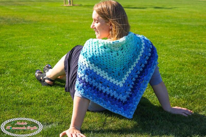 Simple Royal Granny Shawl - free crochet pattern - blue, caron cake, elegant, stunning, easy, fast, scarf, triangle
