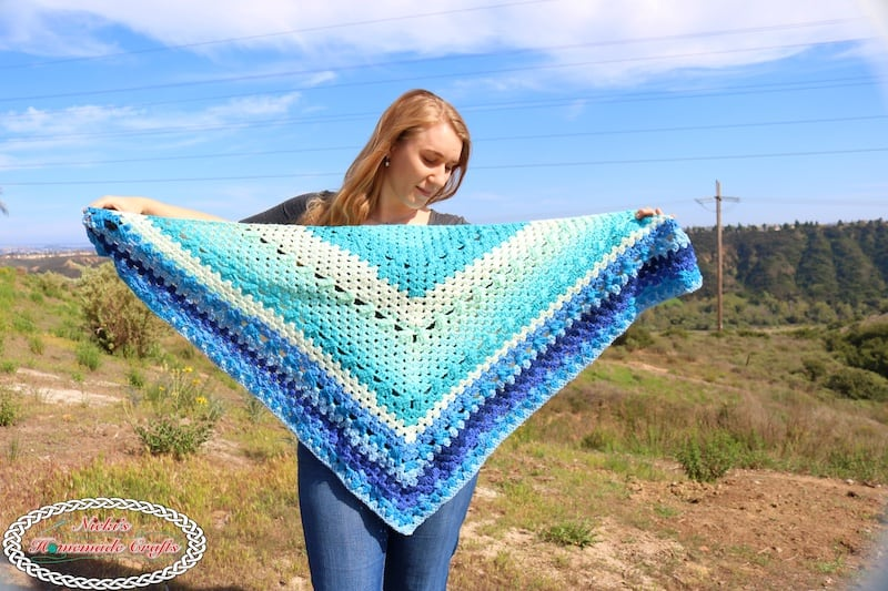 overall size of the shawl using crochet granny stitch pattern