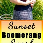 Beginner Crochet Scarf with sunset colors as a boomerang