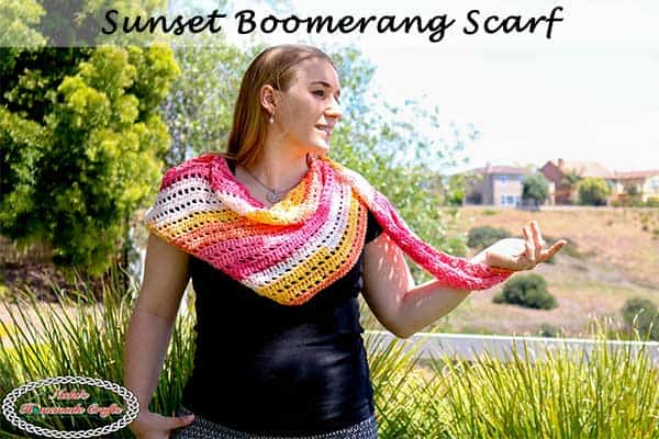 Crochet Scarf for beginners as Sunset Boomerang Scarf