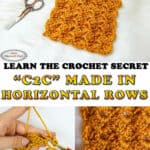 Horizontal Rows C2C - Tulip Stitch Crochet Tutorial