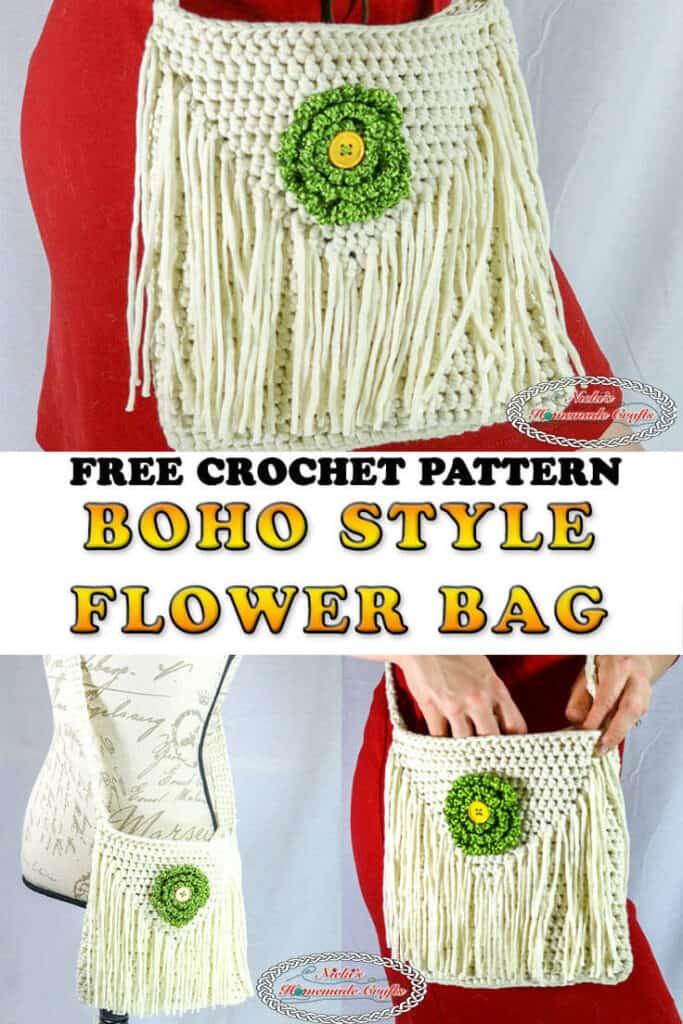 Crochet Shoulder Bag with Flower