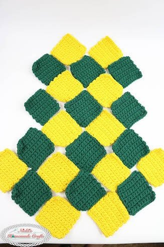 Patchwork Diamond Yellow and green bag