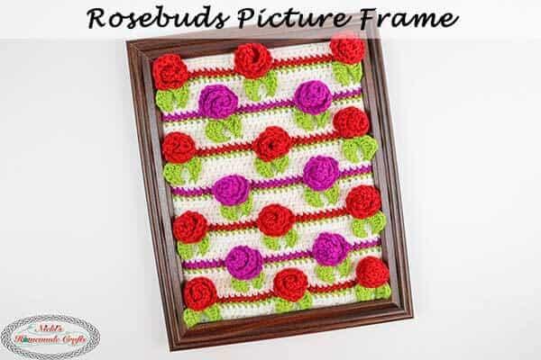 Crochet Pattern Rosebud Picture Frame