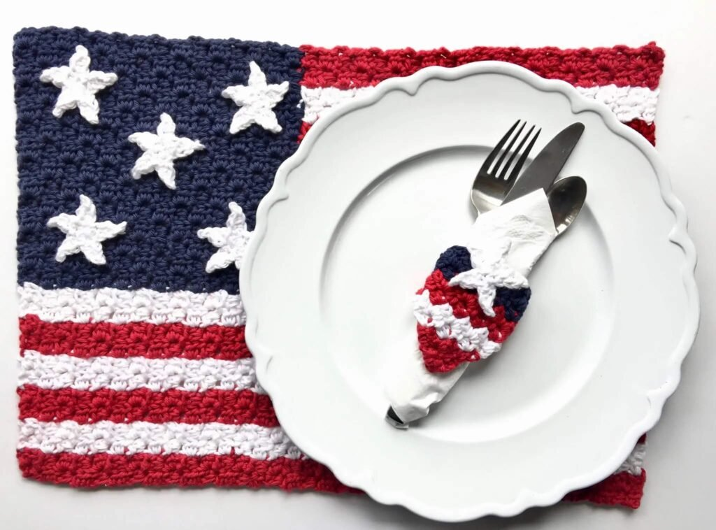 American Flag Crochet Placemat Pattern