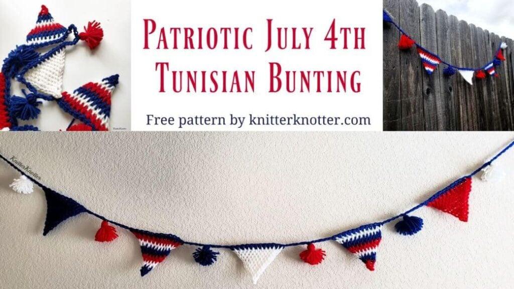 Patriotic July 4th Tunisian Bunting Crochet Pattern
