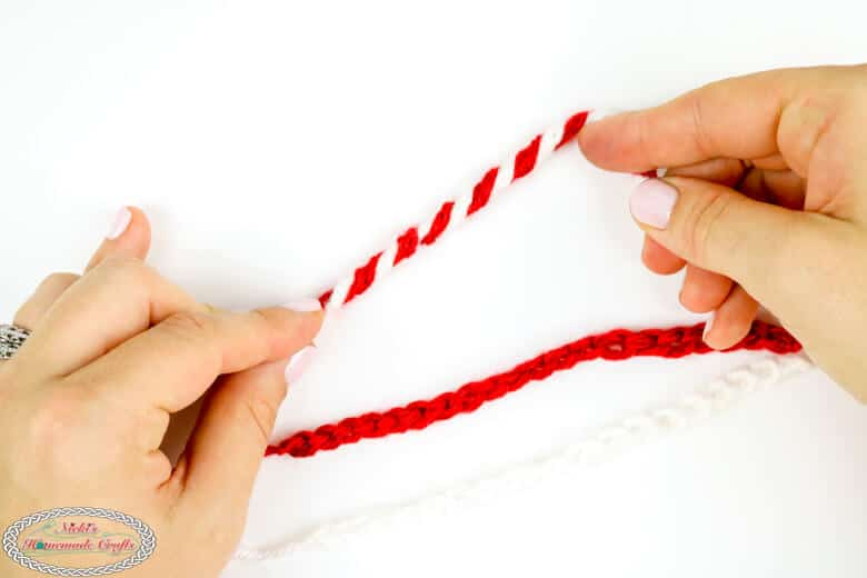 crocheting a candy cane
