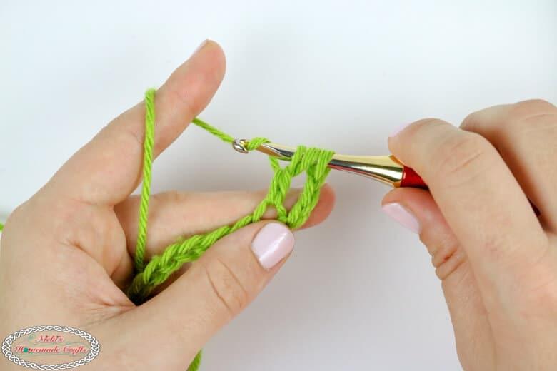Treble crochet tutorial step
