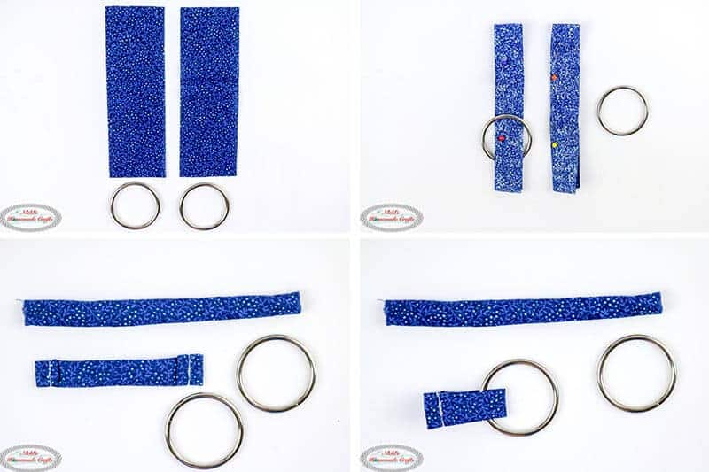 preparing the crochet bag strap using fabric