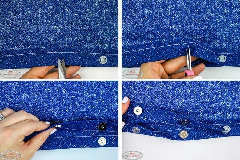 adding the magnetic snaps to Simple Crochet Summer Bag