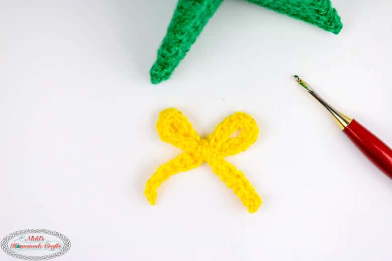 Gold and Yellow crocheted bow