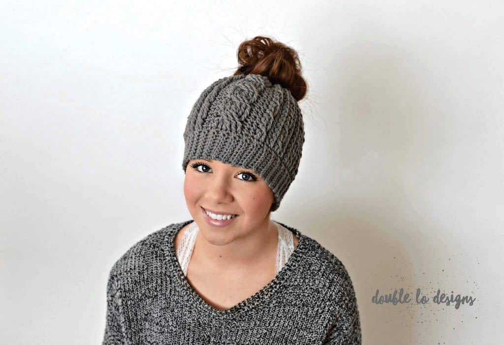 cabled messy bun