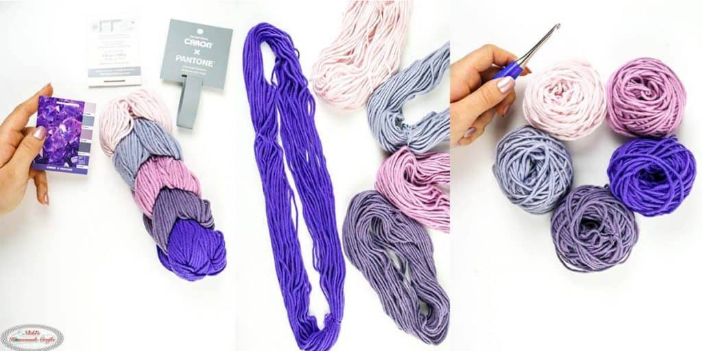 Caron X Pantone Yarn Braid to Loops to Balls