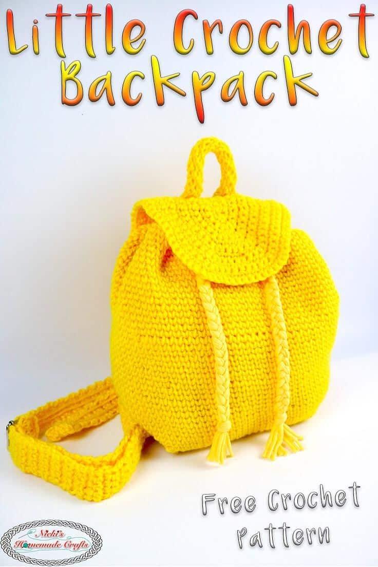 crochet little backpack -free crochet pattern -yellow
