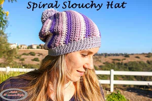 Spiral Slouchy Hat Using Caron X Pantone Yarn Free Crochet Pattern