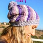 Spiral Slouchy Hat using Yarnspirations' Caron X Pantone yarn