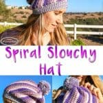 Spiral Slouchy Hat with pom pom using Caron X Pantone yarn