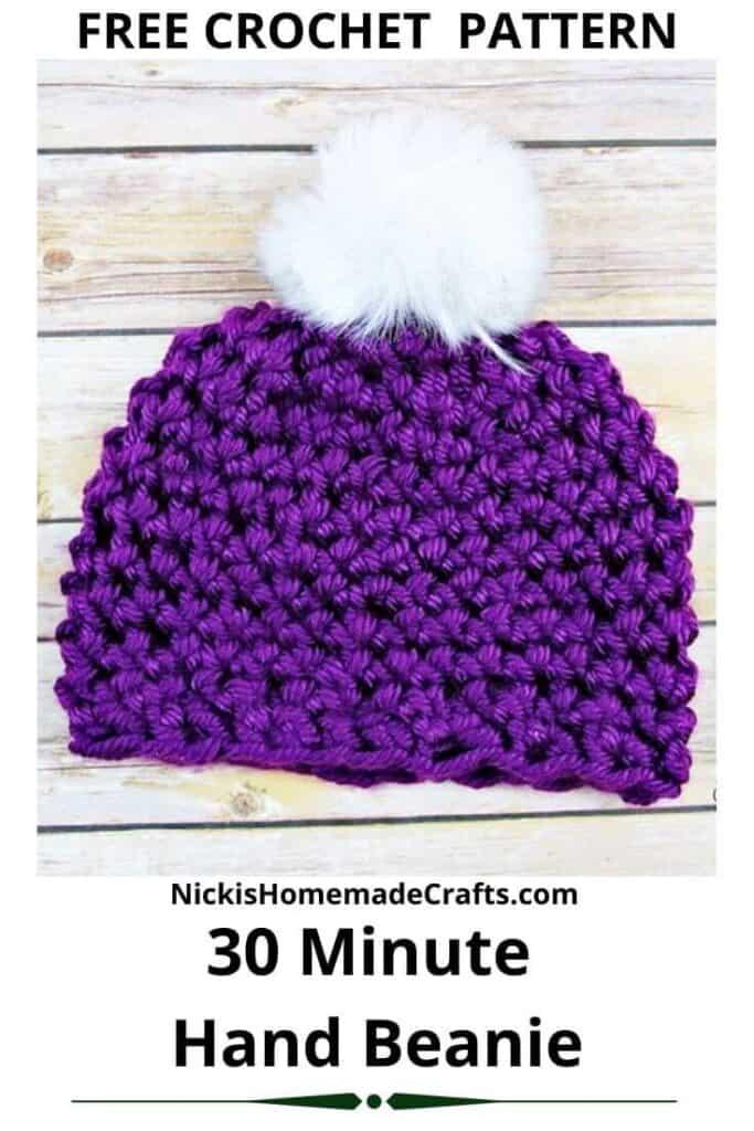 30 Minute Hand Beanie - Free Crochet Pattern