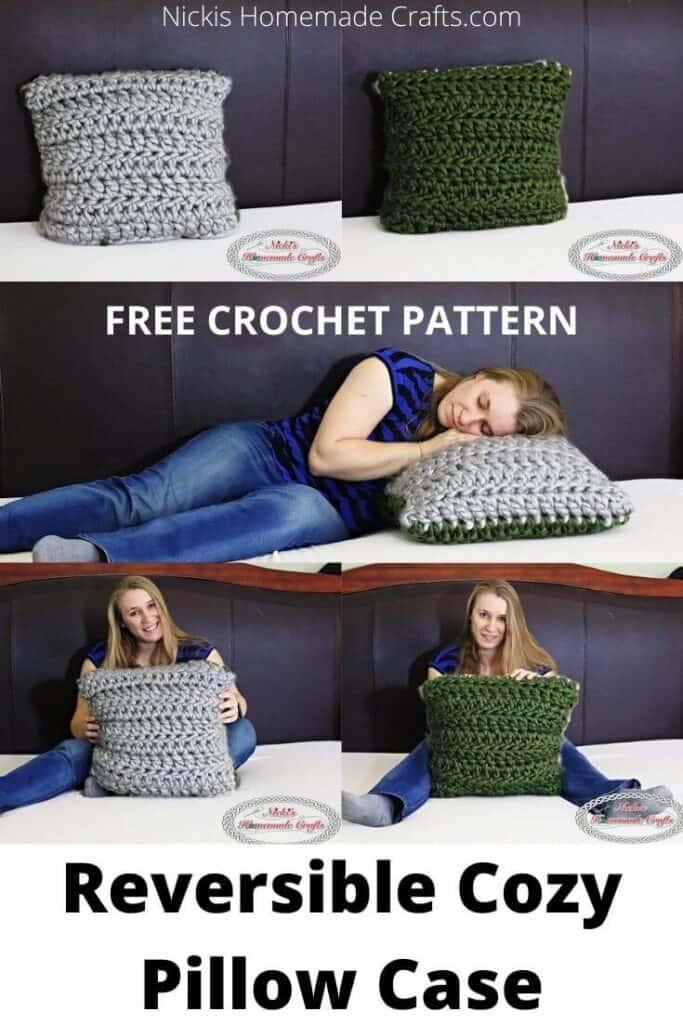 crochet reversible pillow