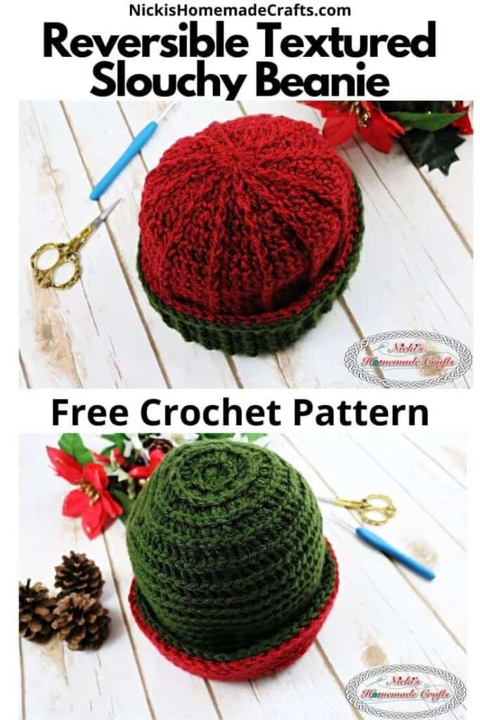 Crochet Reversible Textured Slouchy Beanie
