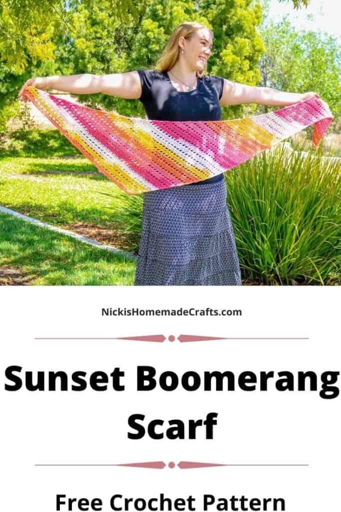 Crochet Sunset Boomerang Scarf