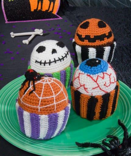 free halloween crochet muffin cupcake pattern
