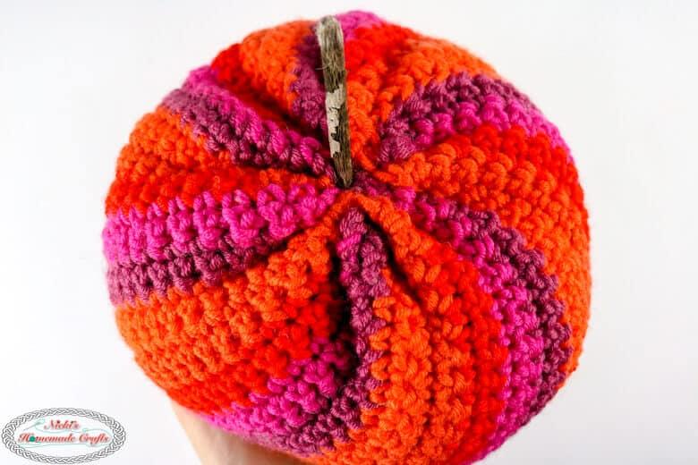 Spiral Pumpkin Close up - Free Crochet Pattern