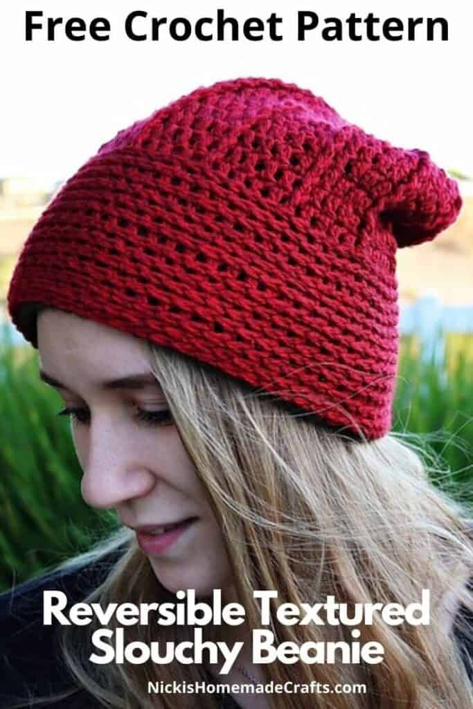 Reversible Textured Slouchy Beanie - Free Crochet Pattern