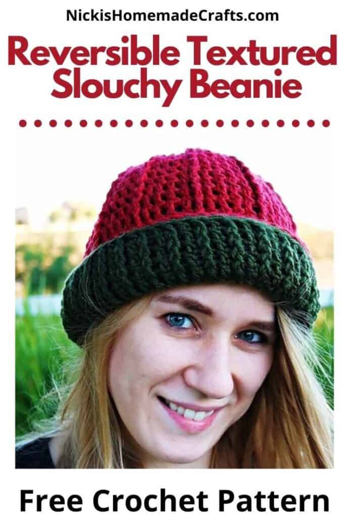 Reversible Textured Slouchy Beanie Pattern