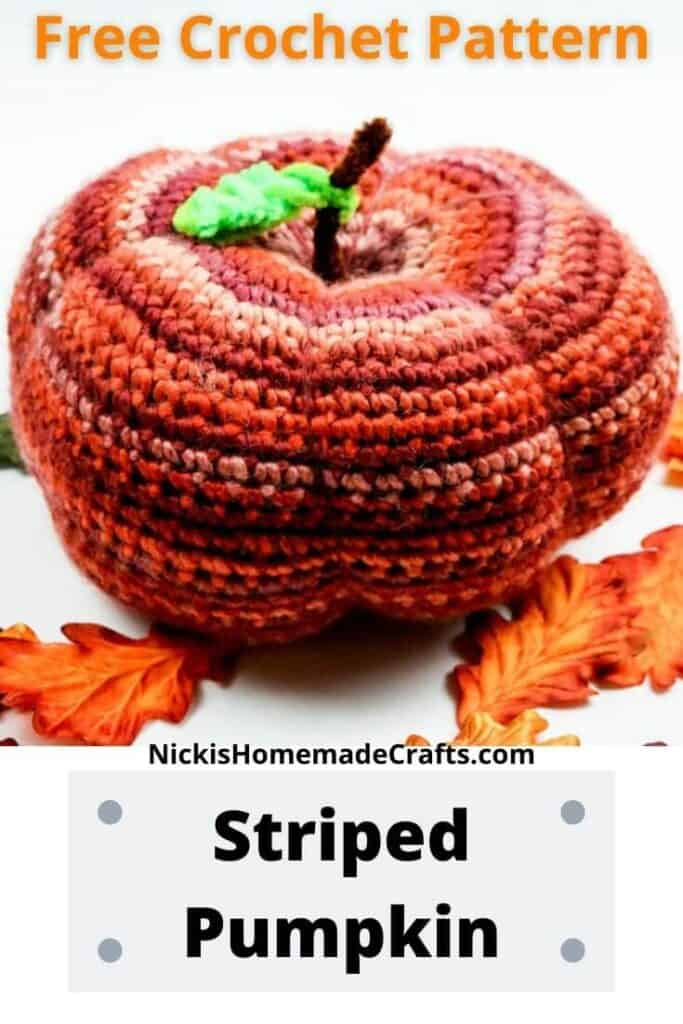crochet striped pumpkin close up