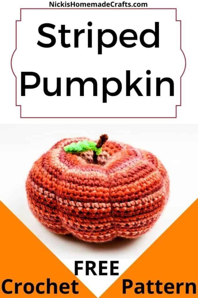 crochet striped pumpkin pin