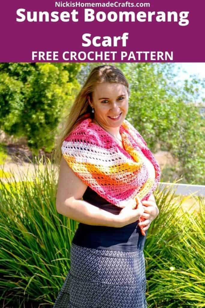 Sunset Boomerang Scarf - Free Crochet Pattern