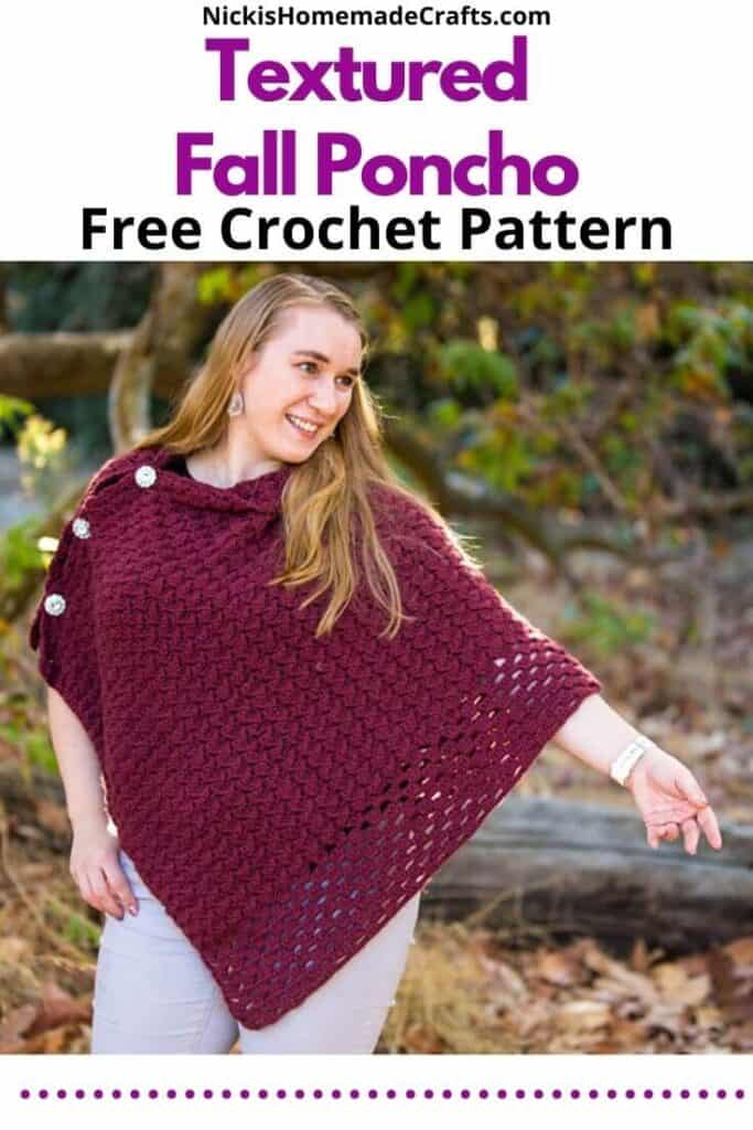 Textured Fall Poncho - Free Crochet Pattern
