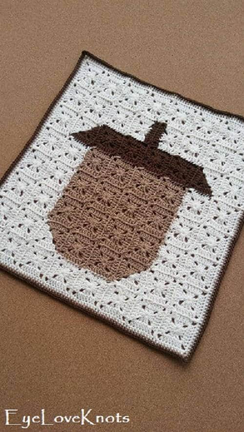 Acorn Square Pixel Art Free Crochet Pattern