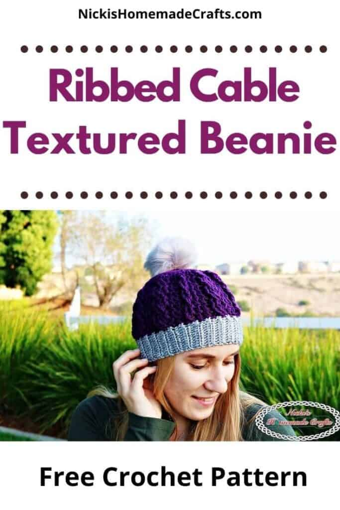 Crochet Ribbed Cable Textured Beanie