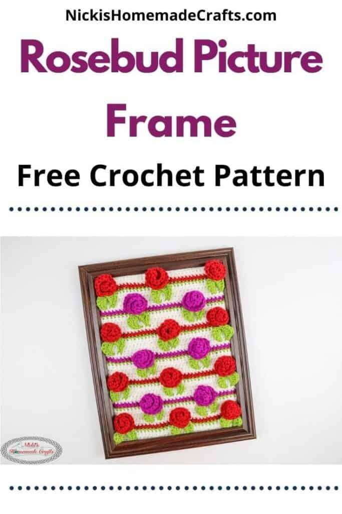 Crochet Rosebud Picture Frame