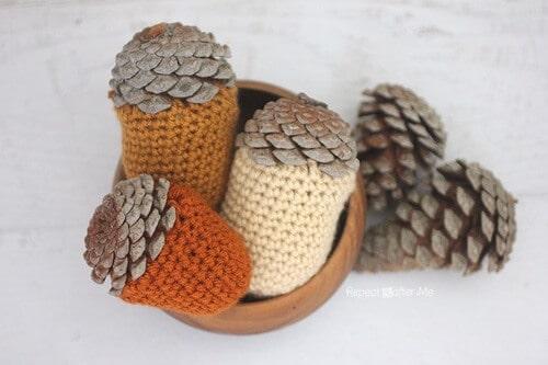 Crochet Acorn Centerpiece