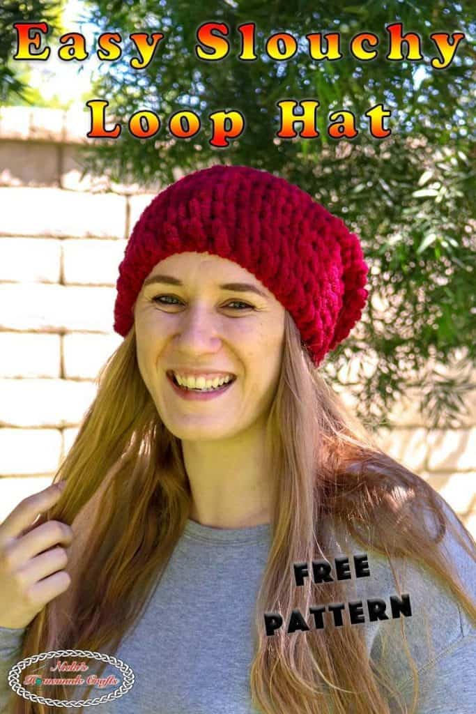 Easy Slouchy loop hat knitted with hands