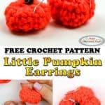 Pumpkin Earrings crochet small