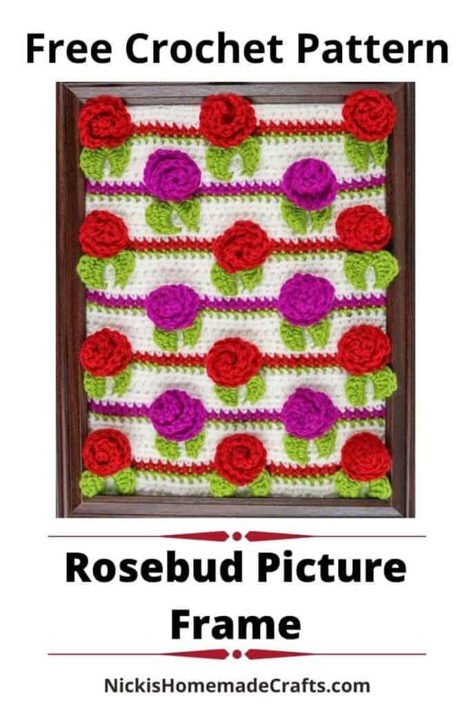 Rosebud Picture Frame - Free Crochet Pattern