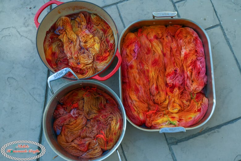 Yarn being Dyed with Fruit Juice, Food Coloring and Spices