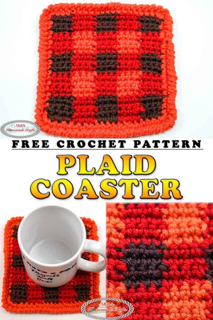 Plaid Coaster - Free Crochet Pattern - Thanksgiving - Christmas
