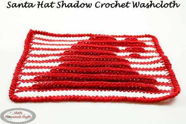 Santa Hat Washcloth with Shadow Crochet - free pattern